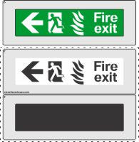 FIRE EXIT to the left sign