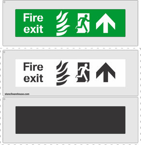 FIRE EXIT escape route ahead stencil