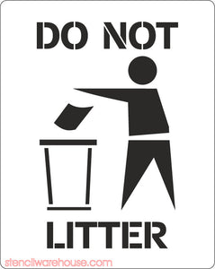 Please Do Not Litter Stencil