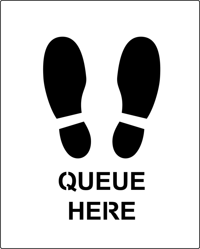 Queue here stencil for Social Distancing marking