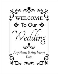 Customised Wedding Stencil - welcome to our wedding