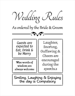 Wedding Stencil - our wedding rules
