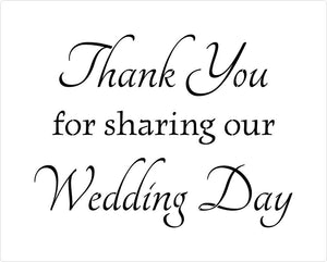 Wedding Thank You For Sharing Our Day stencil