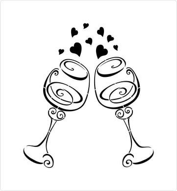 Wedding Wine Glasses stencil