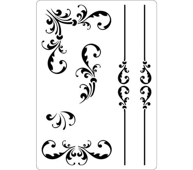 Decorative stencil for creating borders and corners