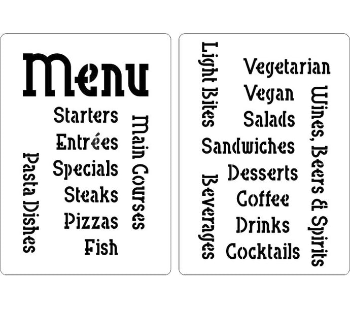 Menu stencil including courses and categories of food such as Vegan