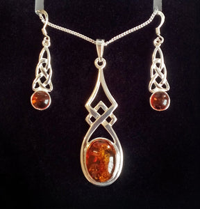 Sterling Silver Celtic Amber Set