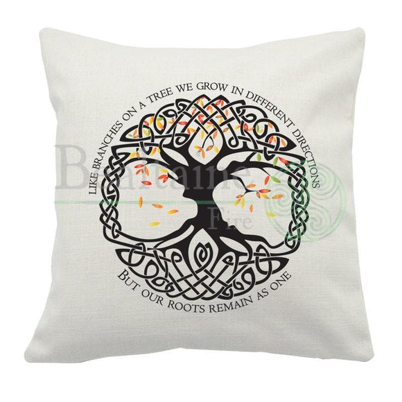 Celtic Tree With Saying Cushion Cover