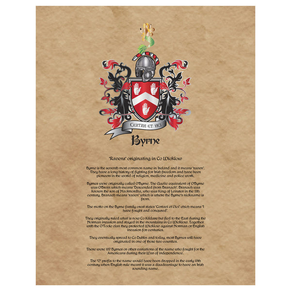 Byrne Coat of Arms Premium Luster Unframed Print