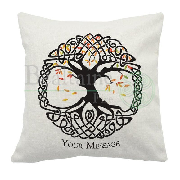 Personalised Autumn Tree Of Life Cushion Cover