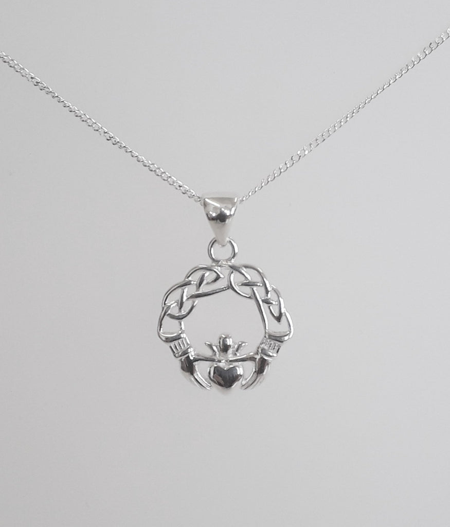 small silver pendant necklace claddagh sterling