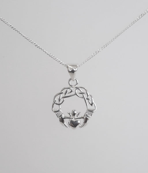 Silver Claddagh Necklace and Earring Set