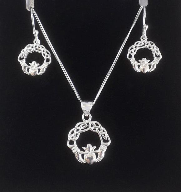 Silver Claddagh Necklace And Earring Set Silver Jewellery