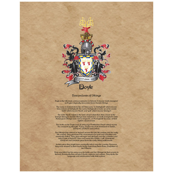 Doyle Coat of Arms Premium Luster Unframed Print