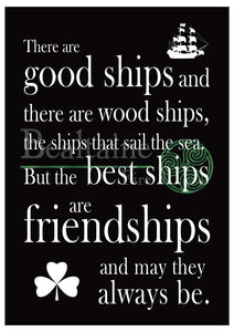 Good Ship Friendship - Rectangular Print (3 Colours) A4 / Black