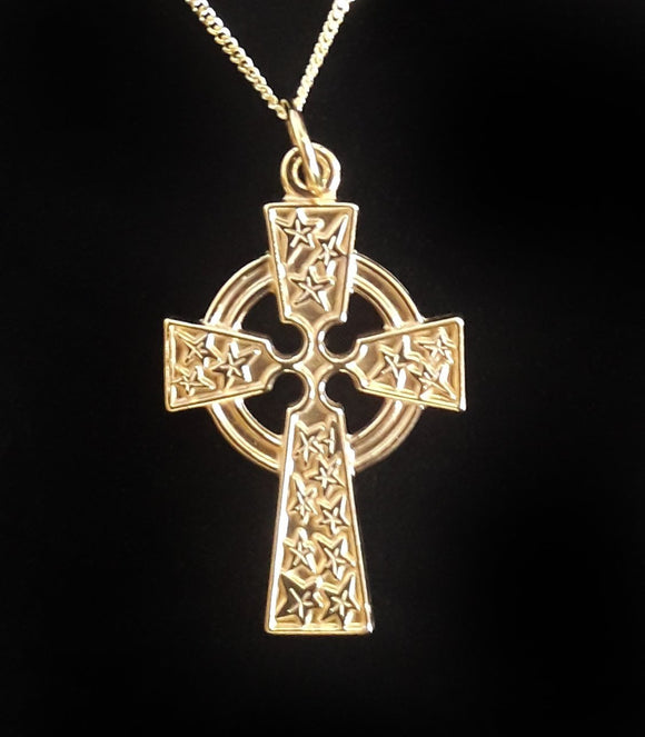 9Ct Gold Celtic Cross Plain Box Jewellery