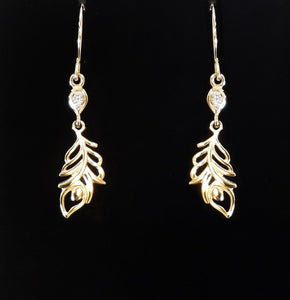 9Ct Gold Feather Drop Earrings Plain Box Jewellery