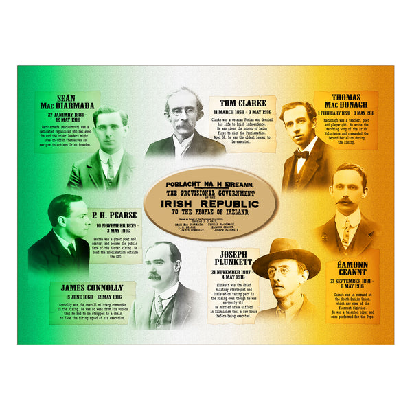 Signatories of the Proclamation (Irish tricolour) Premium Luster Unframed Print