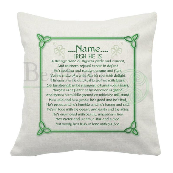 Personalised Irish He Is Cushion Cover
