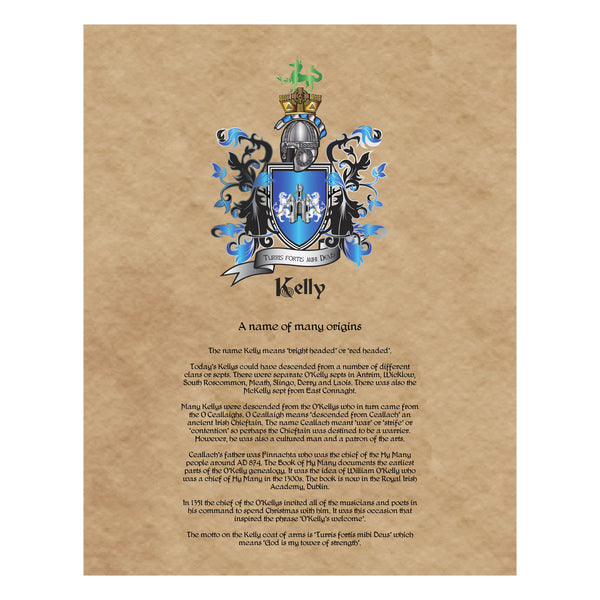 Kelly Coat of Arms on Canvas