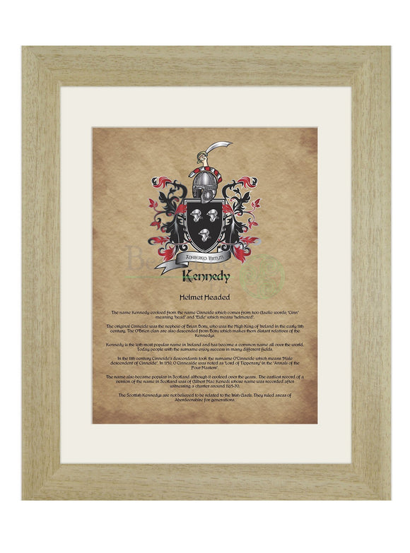 Kennedy Coat Of Arms With History (And Variations) Light Oak (Light)