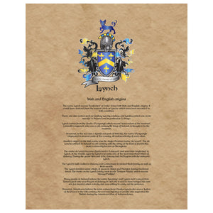 Lynch Coat of Arms Premium Luster Unframed Print
