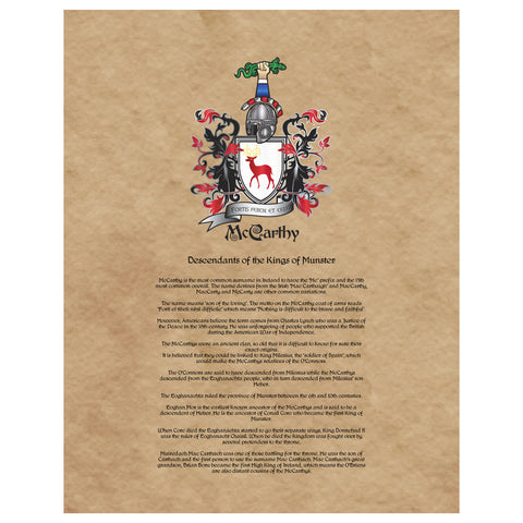 McCarthy Coat of Arms Premium Luster Unframed Print