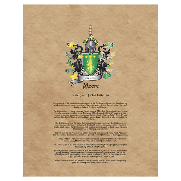 Moore Coat of Arms Premium Luster Unframed Print