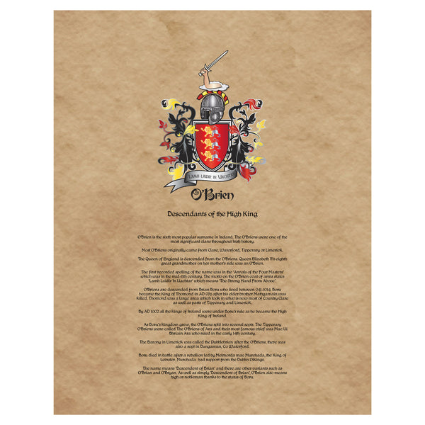 O'Brien Coat of Arms Premium Luster Unframed Print