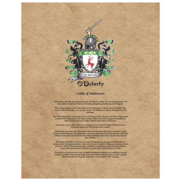 O'Doherty Coat of Arms on Canvas