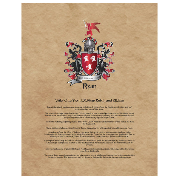 Ryan Coat of Arms on Canvas
