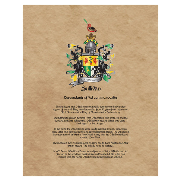 Sullivan Coat of Arms Premium Luster Unframed Print