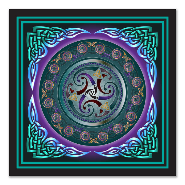 Celtic Triskele, Turquoise on Canvas 16x16in