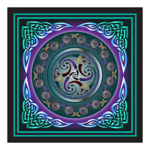 Celtic Triskele, Turquoise on Canvas 12x12in