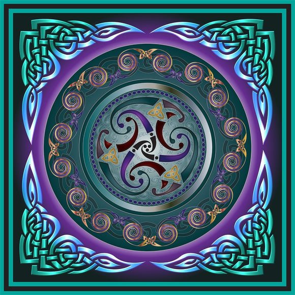 Celtic Triskele Turquoise 8In Print