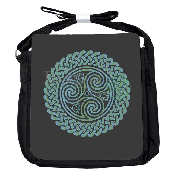 Small Triquetra Triskele Blue Green Bag
