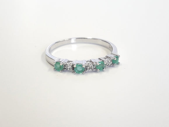 Emerald And Diamond Ring Silver Jewellery