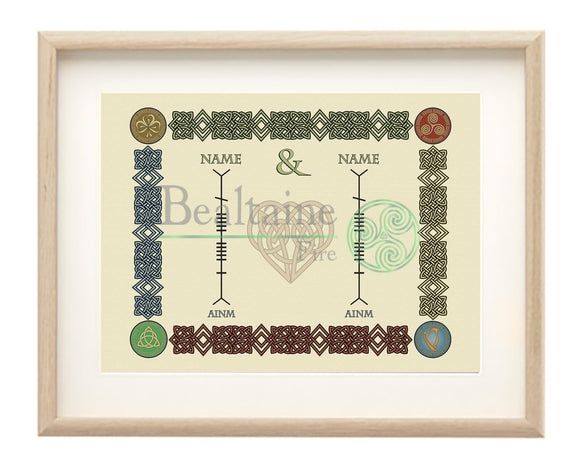 Framed Unite Your Families In Ogham All Colours / Natural Framed Print