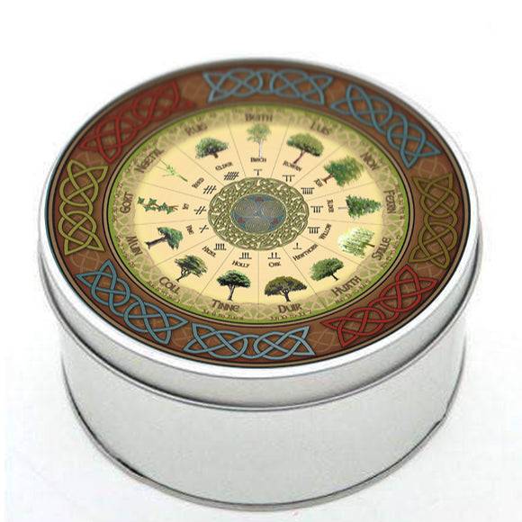 Ogham Tree Calendar Jigsaw puzzle in a Tin