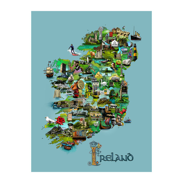 Illustrated Map of Ireland on Canvas
