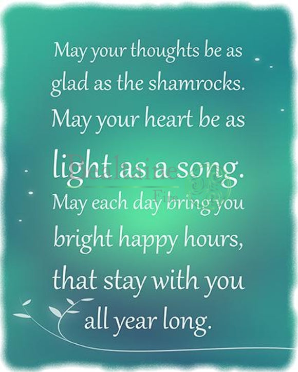 May Your Thoughts Be As Glad The Shamrocks (Blue-Green) Pdf
