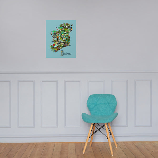 Illustrated Map of Ireland Premium Luster Unframed Print