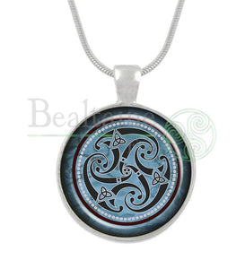 Triple Spiral Blue / 16In Pendant