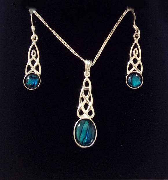 Silver Celtic Abalone Pendant and Earring Set