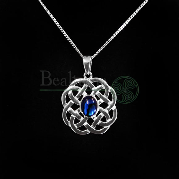Silver Round Celtic Knot Abalone Pendant