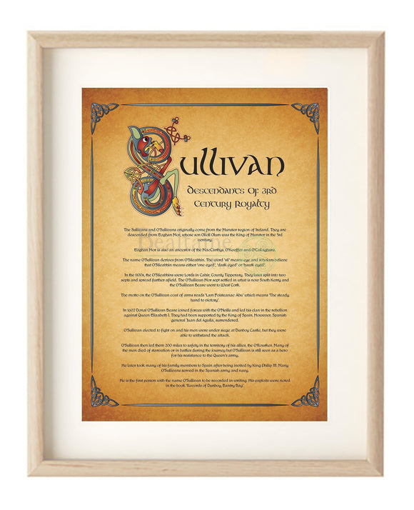 Framed Illuminated Name And History Framed Print