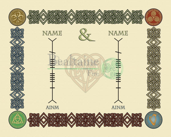 Unite Your Family Names In Ogham 8X10In / All Colours Print
