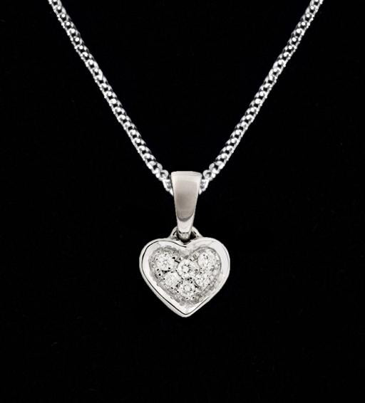 9Ct White Gold Diamond Heart Pendant Plain Box Jewellery