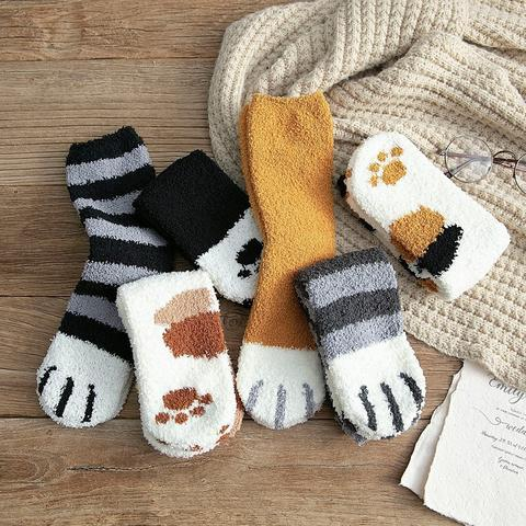 1Pair Girl Softs Coral fleece Bed Floor Thicken Stripe Cat Claw Socks Fluffy Winter Warm Breathable 3 480x480 f5a77236 b165 4c38 87ab 2c65b55d1010 Chaussettes Pattes De Chat