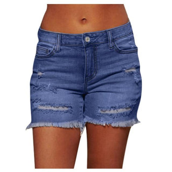 Short Denim à Ourlets effilochés